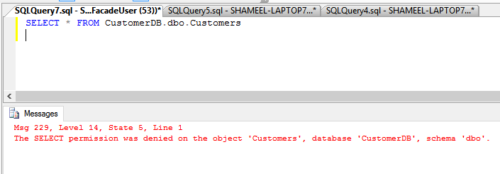 FacadeDB Select Underlying Table